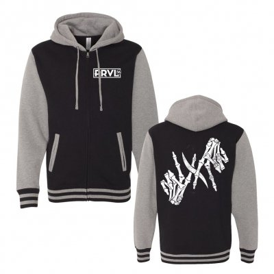 i-prevail - Skele-Hands Varsity Hoodie (Black/Heather Grey)