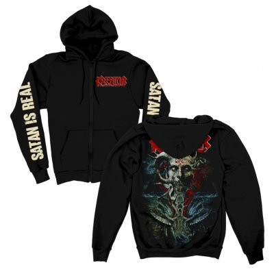 Satan Is Real Zip Up Sweatshirt (Black)