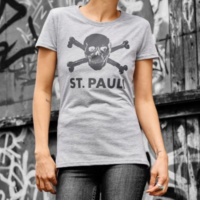 FC St Pauli - Skull Womens T-Shirt (Heather Gray)