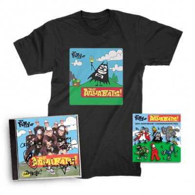 the-aquabats - The Fury Of The Aquabats CD (Signed) + Fury Bat '97 Tee + Enamel Pin Set Bundle