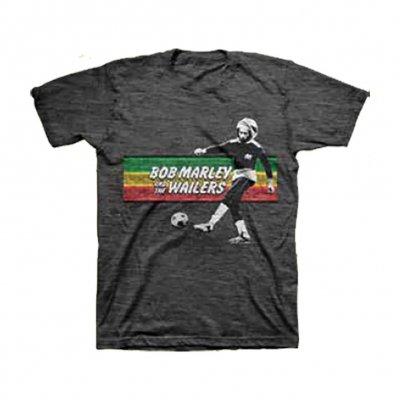 Bob Marley - Soccer Rasta Stripe T-Shirt (Black)