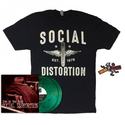 social-distortion - Live at the Roxy LP (Green Smoke) + Wheeler T-Shirt (Black) + Die Cut Skelly w/Logo Sticker Bundle