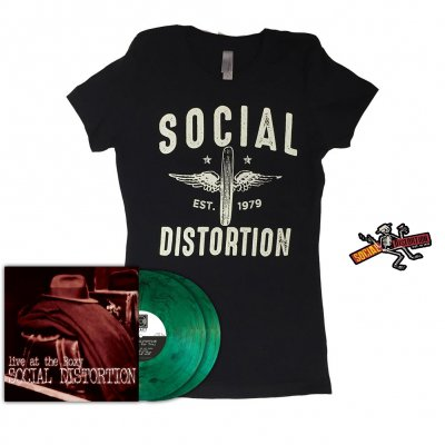 social-distortion - Live at the Roxy LP (Green Smoke) +Wheeler Women's T-Shirt (Black) + Die Cut Skelly w/Logo Sticker Bundle