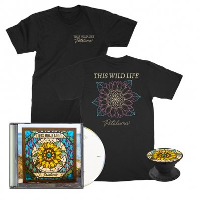 this-wild-life - Petaluma Flower Tee (Black) + Petaluma CD + Petaluma Pop Socket Bundle