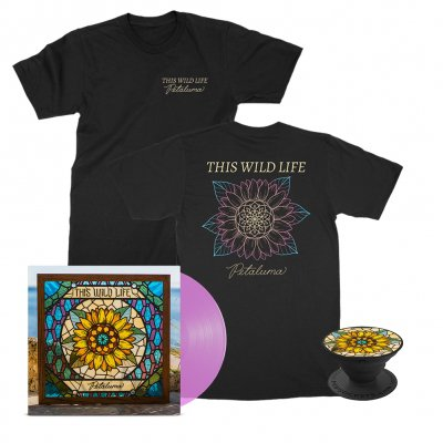 this-wild-life - Petaluma Flower Tee (Black) + Petaluma LP (Pink) + Petaluma Pop Socket Bundle