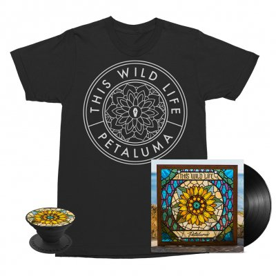 this-wild-life - Flower Seal Tee (Black) + Petaluma LP (Black) + Petaluma Pop Socket Bundle