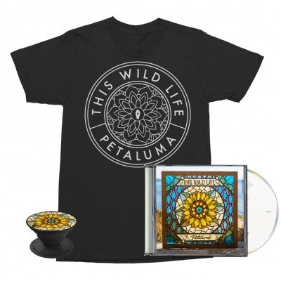this-wild-life - Flower Seal Tee (Black) + Petaluma CD + Petaluma Pop Socket Bundle