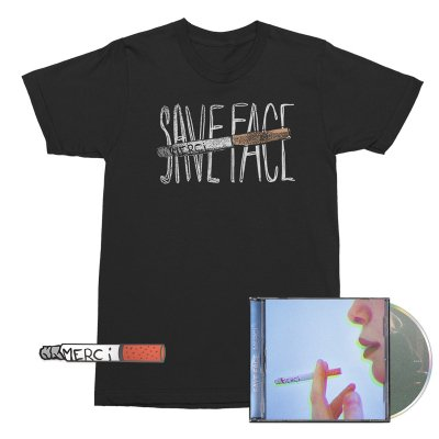 Save Face - Merci CD + Cigarette Enamel Pin + Cigarette Tee (Black) Bundle