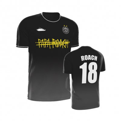 papa-roach - Golden Yellow Logo Soccer Jersey (Black)