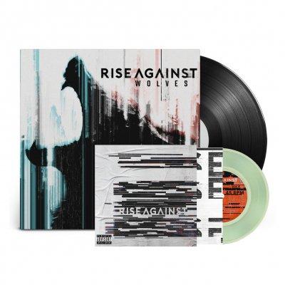 "rise-against - Megaphone 7"" (Coke Bottle Green) + Wolves LP (Black) Bundle"