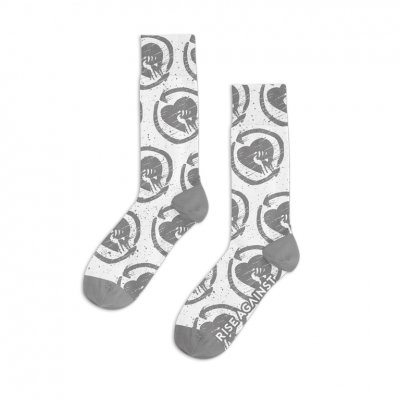 HeartFist Pattern Distressed Socks (White)