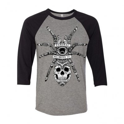 parkway-drive - Spider Skull Raglan (Heather Grey/Black)