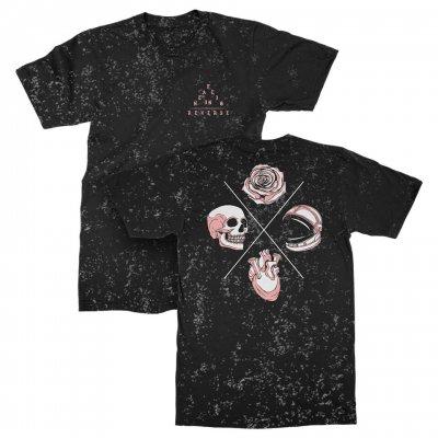 IMAGE | Skull Rose Heart Speckle Tee (Black)