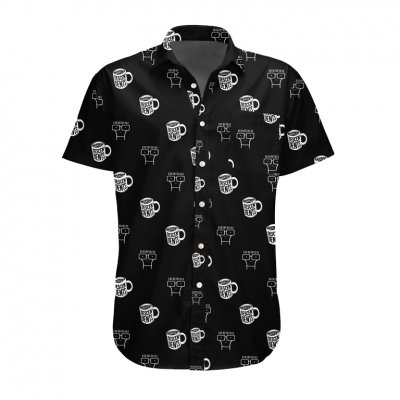descendents - Coffee Mug Button-Up Short Sleeve Shirt (Black)