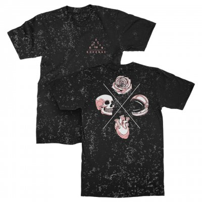 falling-in-reverse - Skull Rose Heart Speckle Tee (Black)