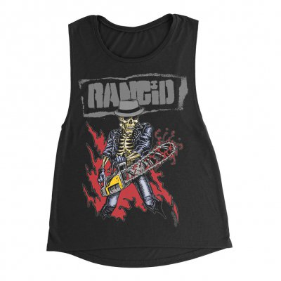 rancid - Chainsaw Skele-Tim Women's Muscle Tank Top (Black)