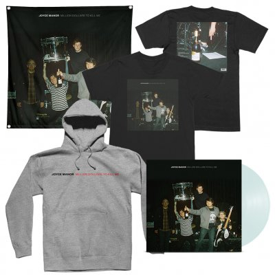 joyce-manor - Million Dollars To Kill Me LP (Coke Bottle) + Tee (Black) + Hoodie (Heather Grey) + Flag Bundle