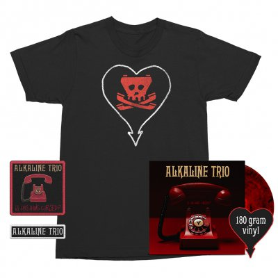 Alkaline Trio - Is This Thing Cursed? LP (Red w/ Black 180g) + Tone Tee (Black) Patches (2) Bundle