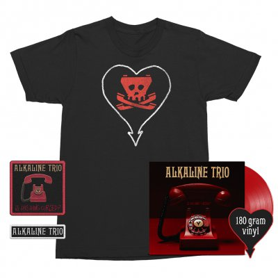 alkaline-trio - Is This Thing Cursed? LP (Red 180g) + Tone Tee (Black) + Patches (2) Bundle