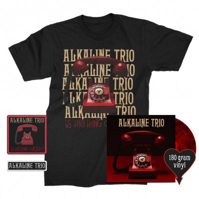 alkaline-trio - Is This Thing Cursed? LP (Red w/ Black 180g) + Repeater Tee (Black) Patches (2) Bundle