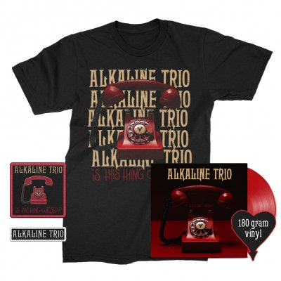 alkaline-trio - Is This Thing Cursed? LP (Red 180g) + Repeater Tee (Black) + Patches (2) Bundle