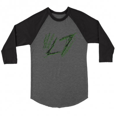 l7 - Skele Hands Raglan (Deep Heather/Black)