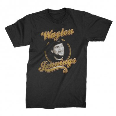 waylon-jennings - Head Shot Tee (Black)