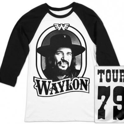 waylon-jennings - 79 Tour Raglan (White/Black)