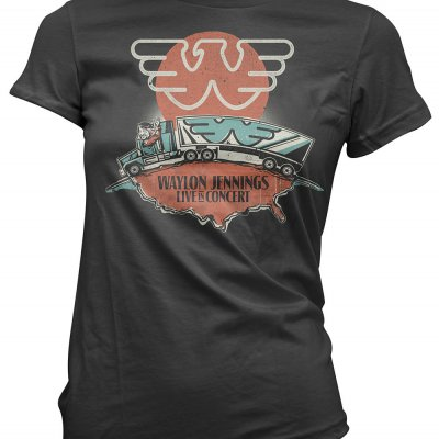 waylon-jennings - Live in Concert Women's Tee (Black)