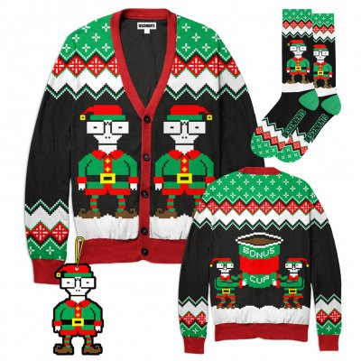 descendents - 2018 Holiday Sweater + Socks + Elves Ornament Bundle