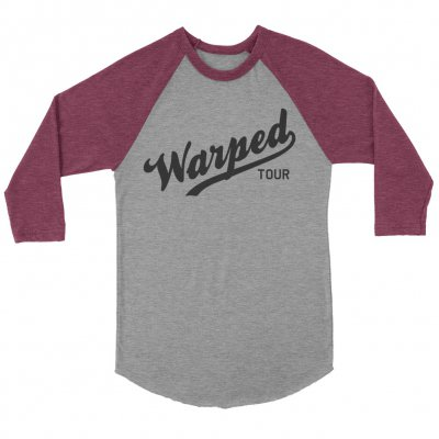 vans-warped-tour - Warped Tour Baseball Logo Raglan (Grey/Maroon)