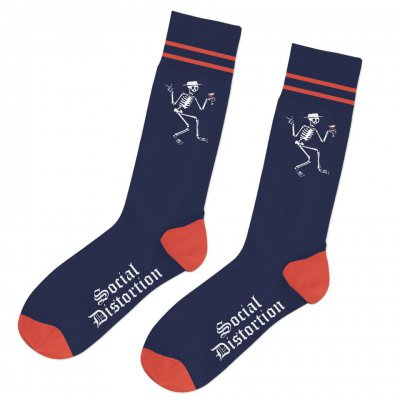 social-distortion - Skelly Stripe Socks (Navy/Red)