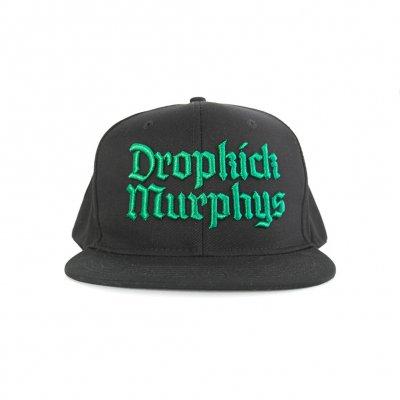 dropkick-murphys - Gothic Logo Snapback Hat (Black/Green)