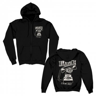 alkaline-trio - Distressed Phone Zip Up Hoodie (Black)
