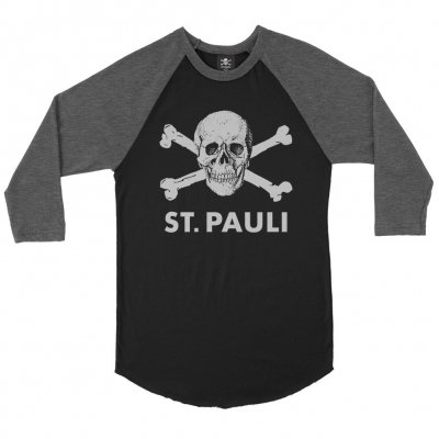 FC St Pauli - Skull Raglan (Black/Heather Charcoal)