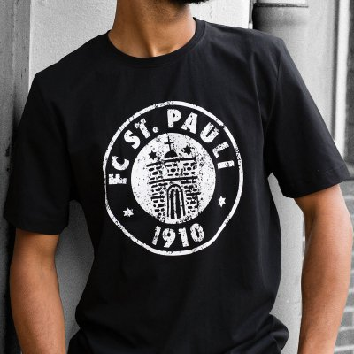 FC St Pauli - Logo Schwarz Weiss Tee (Black)