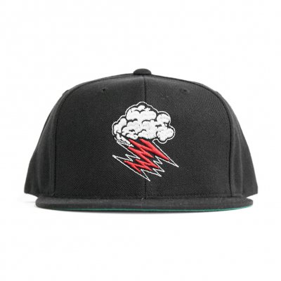 Cloud Logo Embroidered Snap Back (Black)