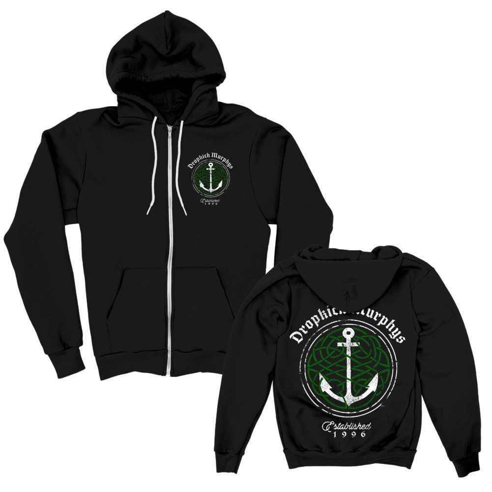 IMAGE | Celtic Knot Anchor Zip-Up Hoodie (Black)