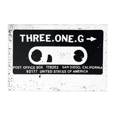 "three-one-g - Cassette Sticker - 4"" (White)"