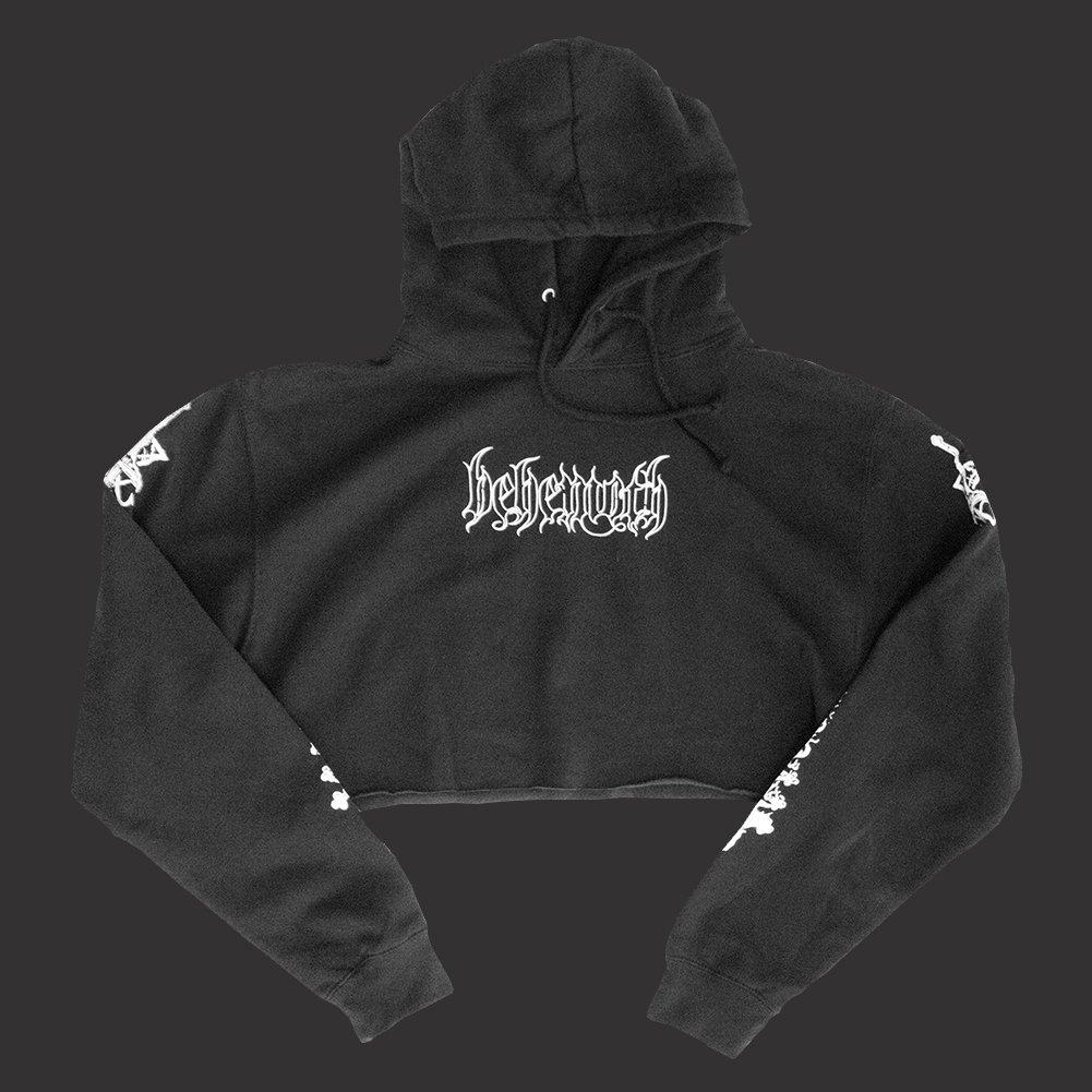 IMAGE   Crucifix Women's Crop Top Sweatshirt (Black)