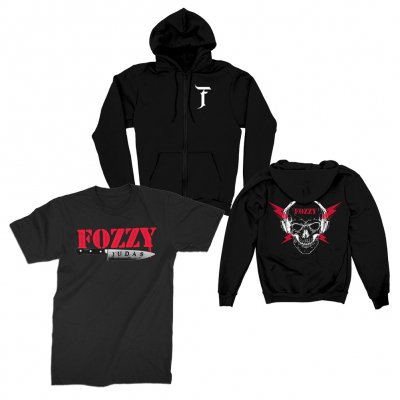 fozzy - Skull Zip Up Hoodie + Judas Knife Tee Bundle
