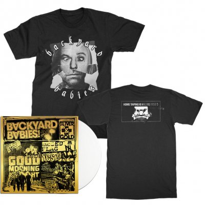 backyard-babies - Sliver & Gold LP (White) + Tee (Black) Bundle - $39.99