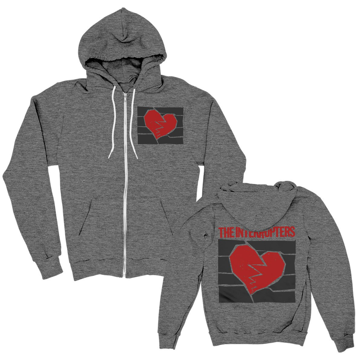 IMAGE   Broken Heart Zip Up (Dark Grey Heather)