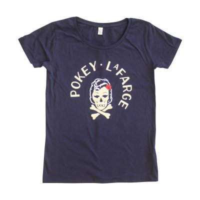 pokey-lafarge - Skull and Crossbone Womens Tee (Navy)