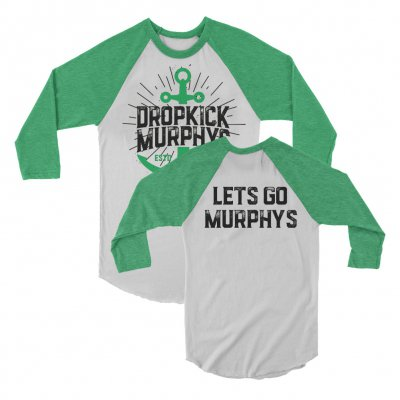 dropkick-murphys - Anchor Raglan (White/Green)