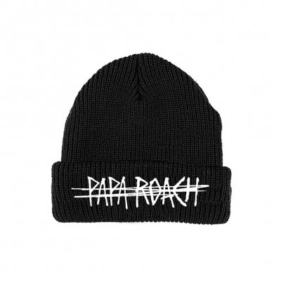 Scratch Logo Embroidered Beanie (Black)