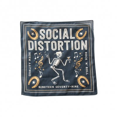 "social-distortion - Skelly Music Note Bandana  21""X21"" (Navy)"