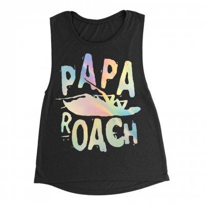 papa-roach - Classic Logo Foil Women's Muscle Tank (Black)