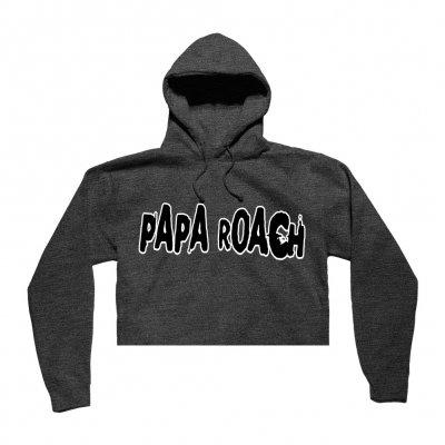 papa-roach - Classic Logo Cropped Hoodie (Gray)