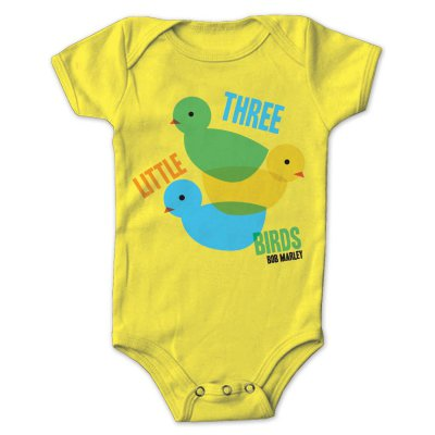Bob Marley - 3 Lil Birds Creeper Onesie (Yellow)